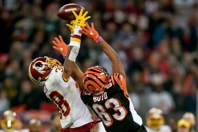 Oct 30, 2016; London, United Kingdom; Washington Redskins cornerback Kendall Fuller (38) breaks up a pass to Cincinnati Bengals wide receiver Tyler Boyd (83) during the third quarter at Wembley Stadium. Mandatory Credit: Steve Flynn-USA TODAY Sports