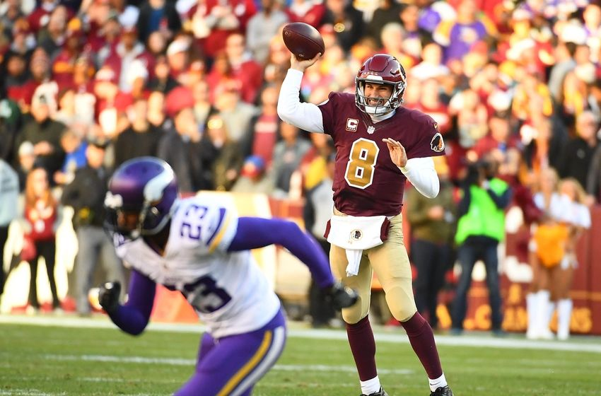 Nov 13, 2016; Landover, MD, USA; Washington Redskins quarterback Kirk Cousins (8) completes a pass against the Minnesota Vikings during the second half at FedEx Field. The Washington Redskins won 26 - 20. Mandatory Credit: Brad Mills-USA TODAY Sports