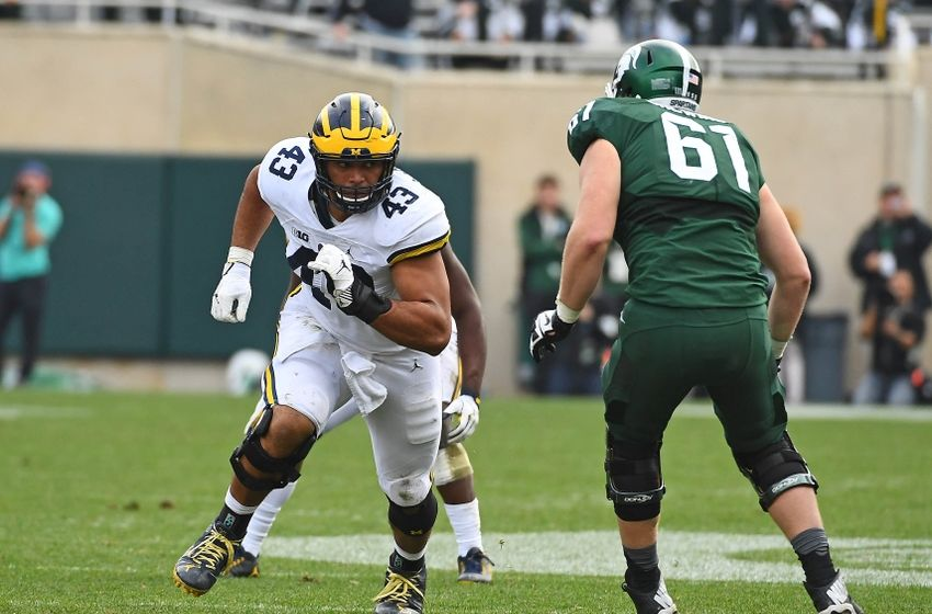 Oct 29, 2016; East Lansing, MI, USA; Michigan Wolverines defensive end Chris Wormley (43) rushes the passer against the Michigan State Spartans during the second half at Spartan Stadium. Mandatory Credit: Brad Mills-USA TODAY Sports