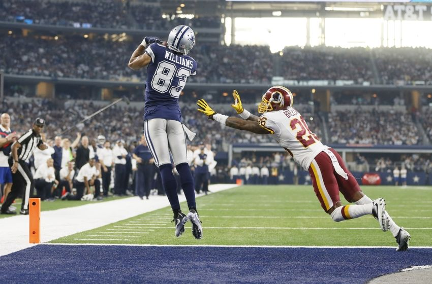 Nov 24, 2016; Arlington, TX, USA; Dallas Cowboys wide receiver Terrance Williams (83) catches a touchdown pass against Washington Redskins cornerback Bashaud Breeland (26) in the second quarter at AT&T Stadium. Mandatory Credit: Tim Heitman-USA TODAY Sports
