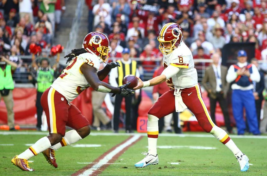 Dec 4, 2016; Glendale, AZ, USA; Washington Redskins quarterback Kirk Cousins (8) hands the ball off to running back Robert Kelley (32) against the Arizona Cardinals at University of Phoenix Stadium. Mandatory Credit: Mark J. Rebilas-USA TODAY Sports