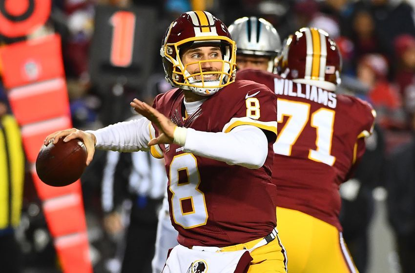 Dec 19, 2016; Landover, MD, USA; Washington Redskins quarterback Kirk Cousins (8) attempts a pass against the Carolina Panthers during the first half at FedEx Field. Mandatory Credit: Brad Mills-USA TODAY Sports