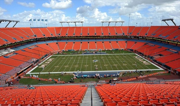 Nov.11, 2012; Miami, FL, USA; A general view of Sun Life Stadium before a game between the Tennessee Titans and the Miami Dolphins. Mandatory Credit: Steve Mitchell-USA TODAY Sports