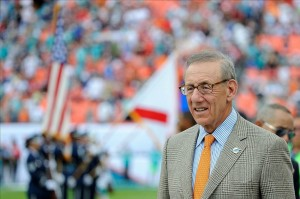 Dec 15, 2013; Miami Gardens, FL, Miami Dolphins owner Stephen Ross looks on from the sideline before kickoff against the New England Patriots at Sun Life Stadium. The Dolphins won 24-20. Mandatory Credit: Steve Mitchell-USA TODAY Sports