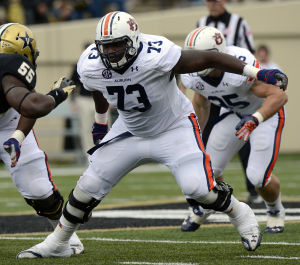 Auburn LT Greg Robinson is one of the top tackle's in the 2014 draft class, but will he declare eligible? Photo taken by: Todd J. Van Emst/Auburn University