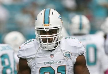 Oct 25, 2015; Miami Gardens, FL, USA; Miami Dolphins defensive end Cameron Wake looks on prior to the game against the Houston Texans at Sun Life Stadium. The Dolphins won 44-26. Mandatory Credit: Andrew Innerarity-USA TODAY Sports