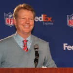 Feb 1, 2012; Indianapolis, IN, USA; New York Giants former quarterback Phil Simms presents the Fed Ex Air and Ground players of the year awards during a press conference prior to Super Bowl XLVI at Lucas Oil Stadium. Mandatory Credit: Matthew Emmons-USA TODAY Sports