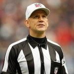 Nov 18, 2012; Houston, TX, USA; NFL referee Clete Blakeman (34) calls a penalty during a game between the Houston Texans and Jacksonville Jaguars in the second quarter at Reliant Stadium. Mandatory Credit: Brett Davis-USA TODAY Sports