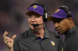 Dec 9, 2012; Minneapolis, MN, USA; Minnesota Vikings offensive coordinator Bill Musgrave against the Chicago Bears at the Metrodome. The Vikings defeated the Bears 21-14. Mandatory Credit: Brace Hemmelgarn-USA TODAY Sports