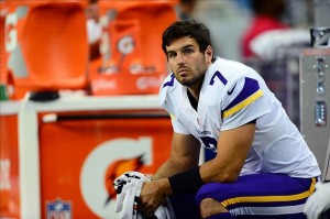 Sep 8, 2013; Detroit, MI, USA; Minnesota Vikings quarterback Christian Ponder (7) on the bench in the first quarter against the Detroit Lions at Ford Field. Mandatory Credit: Andrew Weber-USA TODAY Sports