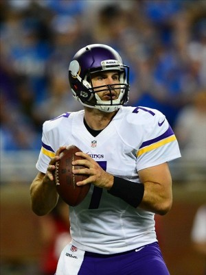 Sep 8, 2013; Detroit, MI, USA; Minnesota Vikings quarterback Christian Ponder (7) looks to pass in the fourth quarter against the Detroit Lions at Ford Field. Mandatory Credit: Andrew Weber-USA TODAY Sports
