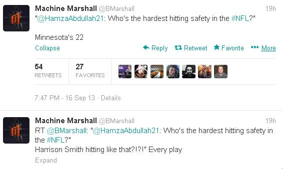 Marshall thinks Harrison Smith is NFL's hardest hitting safety.