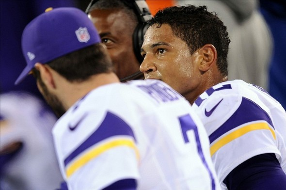 Oct 21, 2013; East Rutherford, NJ, USA; Minnesota Vikings quarterback Josh Freeman (12) looks on in the final minutes of his team