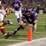 Nov 7, 2013; Minneapolis, MN, USA; Minnesota Vikings quarterback Christian Ponder (7) dives for the end zone during the third quarter against the Washington Redskins at Mall of America Field at H.H.H. Metrodome. The Vikings defeated the Redskins 34-27. Mandatory Credit: Brace Hemmelgarn-USA TODAY Sports