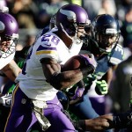 Nov 17, 2013; Seattle, WA, USA; Minnesota Vikings running back Adrian Peterson (28) rushes against the Seattle Seahawks during the first quarter at CenturyLink Field. Mandatory Credit: Joe Nicholson-USA TODAY Sports