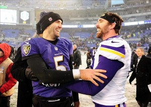 Dec 8, 2013; Baltimore, MD, USA; Baltimore Ravens quarterback Joe Flacco (5) is congratulated by Minnesota Vikings defensive end Jared Allen (69) after the game at M