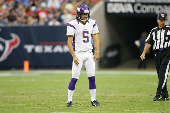 Aug 30, 2012; Houston, TX, USA; Minnesota Vikings punter Chris Kluwe (5) punts against the Houston Texans in the second quarter at Reliant Stadium. Mandatory Credit: Brett Davis-USA TODAY Sports