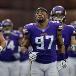 Dec 15, 2013; Minneapolis, MN, USA; Minnesota Vikings defensive end Everson Griffen (97) runs onto the field to play the Philadelphia Eagles at Mall of America Field at H.H.H. Metrodome. The Vikings win 48-30. Mandatory Credit: Bruce Kluckhohn-USA TODAY Sports