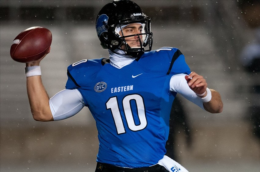 Dec 13, 2013; Charleston, IL, USA; Eastern Illinois Panthers quarterback Jimmy Garoppolo (10) throws the ball during the fourth quarter against the Towson Tigers at O