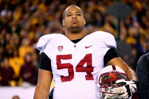 Dec 7, 2013; Tempe, AZ, USA; Stanford Cardinal offensive guard David Yankey (54) against the Arizona State Sun Devils at Sun Devil Stadium. Stanford defeated Arizona State 38-14. Mandatory Credit: Mark J. Rebilas-USA TODAY Sports