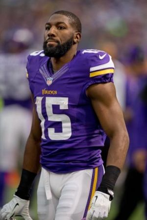 Dec 15, 2013; Minneapolis, MN, USA; Minnesota Vikings wide receiver Greg Jennings (15) walks the sidelines in the game against the Philadelphia Eagles in the third quarter at Mall of America Field at H.H.H. Metrodome. The Vikings win 48-30. Mandatory Credit: Bruce Kluckhohn-USA TODAY Sports
