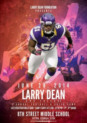 The poster from the second annual Larry Dean and Friends Football and Cheer Camp.