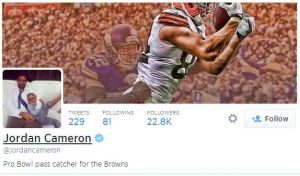 Twitter bio for Cleveland Browns pass catcher Jordan Cameron