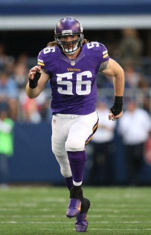 Nov 3, 2013; Arlington, TX, USA; Minnesota Vikings linebacker Michael Mauti (56) in action against the Dallas Cowboys at AT&T Stadium. Mandatory Credit: Matthew Emmons-USA TODAY Sports