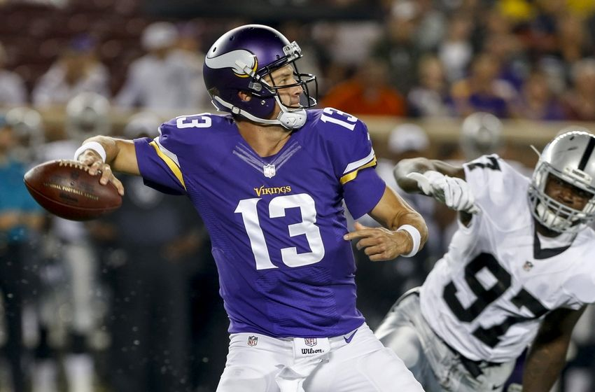 Aug 22, 2015; Minneapolis, MN, USA; Minnesota Vikings quarterback Shaun Hill (13) passes against the Oakland Raiders in the second quarter at TCF Bank Stadium. Mandatory Credit: Bruce Kluckhohn-USA TODAY Sports