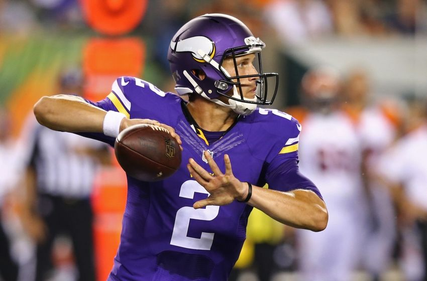 Aug 12, 2016; Cincinnati, OH, USA; Minnesota Vikings quarterback Joel Stave (2) looks to pass in the second half against the Cincinnati Bengals in a preseason NFL football game at Paul Brown Stadium. The Vikings won 17-16. Mandatory Credit: Aaron Doster-USA TODAY Sports