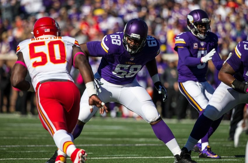 Oct 18, 2015; Minneapolis, MN, USA; Minnesota Vikings offensive lineman T.J. Clemmings (68) against the Kansas City Chiefs at TCF Bank Stadium. The Vikings defeated the Chiefs 16-10. Mandatory Credit: Brace Hemmelgarn-USA TODAY Sports