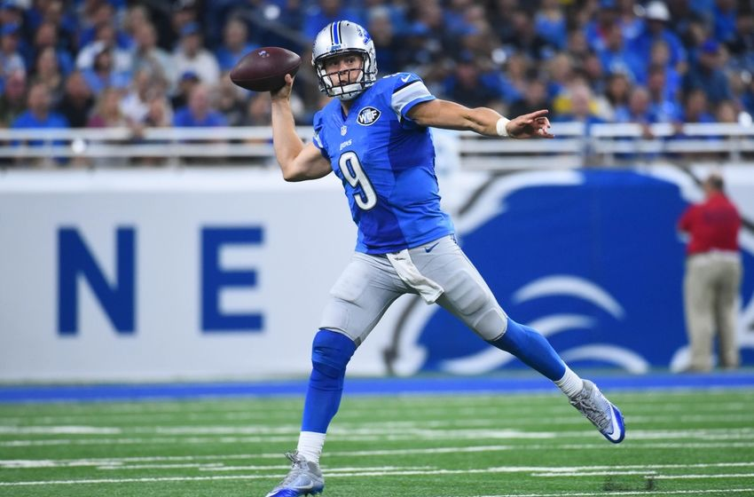 Sep 18, 2016; Detroit, MI, USA; Detroit Lions quarterback Matthew Stafford (9) drops back to pass during the third quarter against the Tennessee Titans at Ford Field. Mandatory Credit: Tim Fuller-USA TODAY Sports