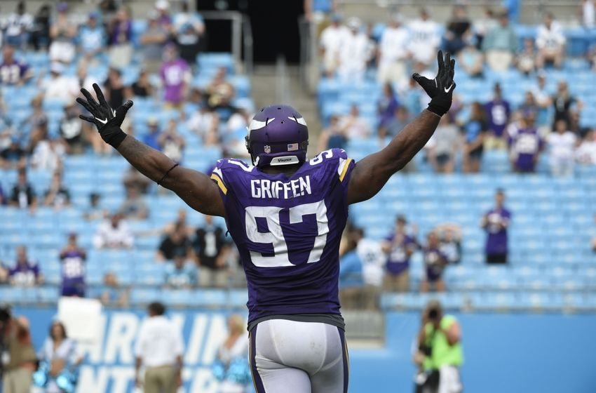 Sep 25, 2016; Charlotte, NC, USA; Minnesota Vikings defensive end Everson Griffen (97) reacts after making a sack in the fourth quarter. The Vikings defeated the Panthers 22-10 at Bank of America Stadium. Mandatory Credit: Bob Donnan-USA TODAY Sports
