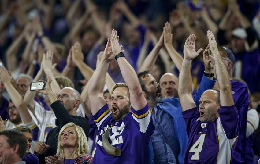 Oct 3, 2016; Minneapolis, MN, USA; Minnesota Vikings fans cheer on their team against the New York Giants at U.S. Bank Stadium. The Vikings won 24-10. Mandatory Credit: Bruce Kluckhohn-USA TODAY Sports
