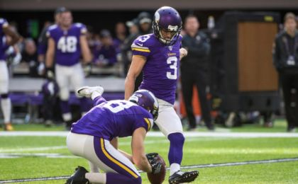 Nov 6, 2016; Minneapolis, MN, USA; Minnesota Vikings kicker Blair Walsh (3) kicks a field goal during the second quarter against the Detroit Lions at U.S. Bank Stadium. Mandatory Credit: Brace Hemmelgarn-USA TODAY Sports