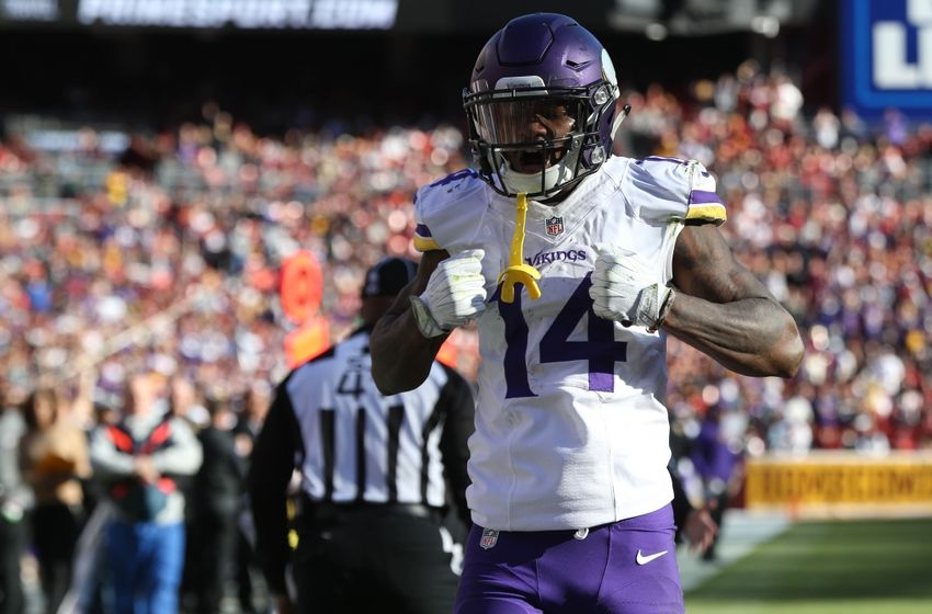Nov 13, 2016; Landover, MD, USA; Minnesota Vikings wide receiver Stefon Diggs (14) gestures after catching a pass against the Washington Redskins in the second quarter at FedEx Field. Mandatory Credit: Geoff Burke-USA TODAY Sports