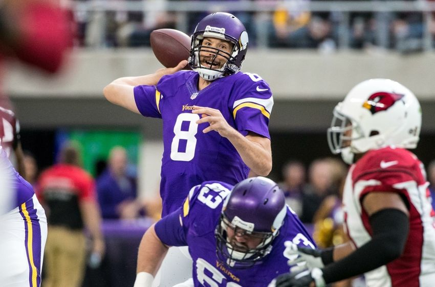 Nov 20, 2016; Minneapolis, MN, USA; Minnesota Vikings quarterback Sam Bradford (8) throws during the first quarter against the Arizona Cardinals at U.S. Bank Stadium. Mandatory Credit: Brace Hemmelgarn-USA TODAY Sports