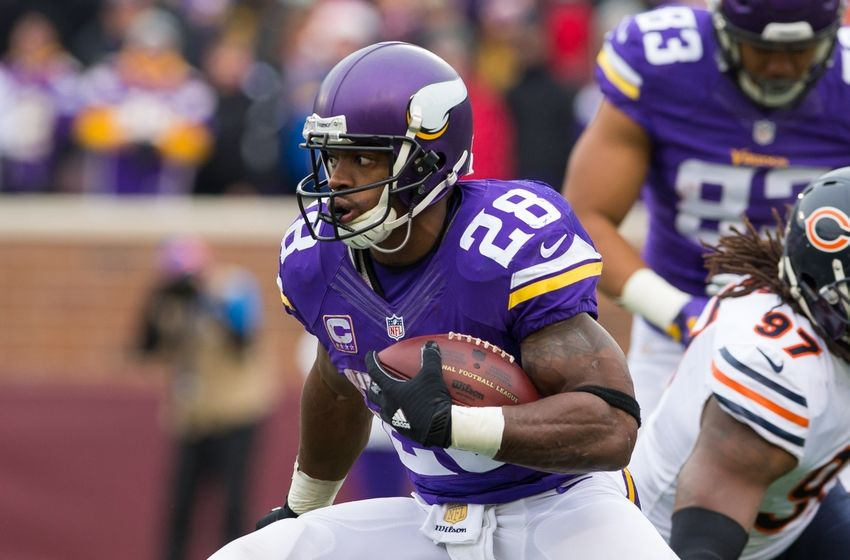 Dec 20, 2015; Minneapolis, MN, USA; Minnesota Vikings running back Adrian Peterson (28) runs in the second quarter against the Chicago Bears at TCF Bank Stadium. Mandatory Credit: Brad Rempel-USA TODAY Sports
