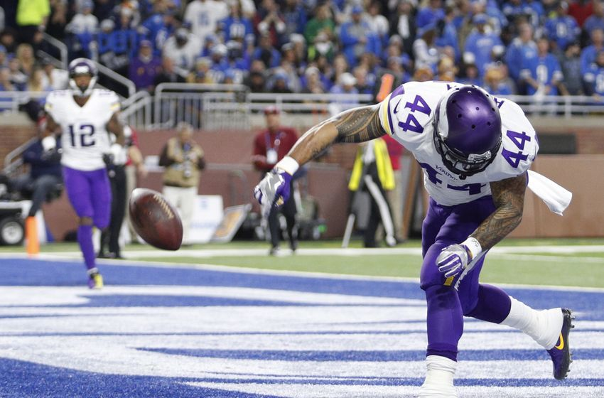 Nov 24, 2016; Detroit, MI, USA; Minnesota Vikings running back Matt Asiata (44) celebrates after a touchdown during the first quarter against the Detroit Lions at Ford Field. Mandatory Credit: Raj Mehta-USA TODAY Sports