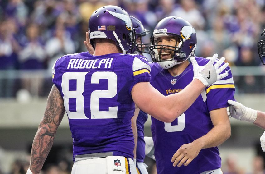 Jan 1, 2017; Minneapolis, MN, USA; Minnesota Vikings tight end Kyle Rudolph (82) celebrates his touchdown with quarterback Sam Bradford (8) during the second quarter against the Chicago Bears at U.S. Bank Stadium. Mandatory Credit: Brace Hemmelgarn-USA TODAY Sports