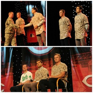 Clockwise from left: a quick comparison to the Army's digital camo, the official presentation by Jay Bruce and Joey Votto, and a forum with Jack Hannahan. (Photo courtesy @Reds)