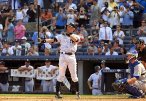 August 20, 2013; Bronx, NY, USA; New York Yankees outfielder Ichiro Suzuki bats in the eighth inning against the Toronto Blue Jays at Yankee Stadium. Mandatory Credit: John Munson/THE STAR-LEDGER via USA TODAY Sports