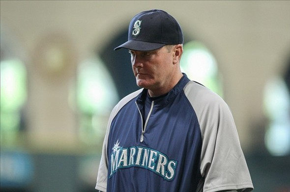 Sep 1, 2013; Houston, TX, USA; Seattle Mariners manager Eric Wedge (22) walks back to the dugout during the fifth inning against the Houston Astros at Minute Maid Park. Mandatory Credit: Troy Taormina-USA TODAY Sports