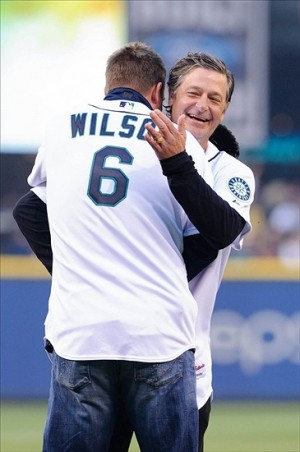 Apr 8, 2013; Seattle, WA, USA; Former Seattle Mariners pitcher Jaime Moyer hugs former Seattle Mariners catcher Dan Wilson prior to the game between the Seattle Mariners and the Houston Astros at Safeco Field. Mandatory Credit: Steven Bisig-USA TODAY Sports