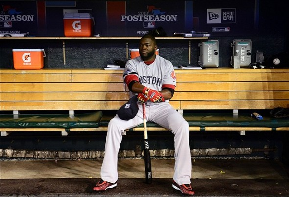 Oct 17, 2013; Detroit, MI, USA; Boston Red Sox designated hitter David Ortiz (34) sits in the dugout prior to game five of the American League Championship Series baseball game against the Detroit Tigers at Comerica Park. Mandatory Credit: Andrew Weber-USA TODAY Sports