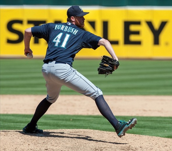 Aug 21, 2013; Oakland, CA, USA; Seattle Mariners relief pitcher Charlie Furbush (41) pitches in relief against the Oakland Athletics during the eighth inning at O.Co Coliseum. The Seattle Mariners defeated the Oakland Athletics 5-3. Mandatory Credit: Ed Szczepanski-USA TODAY Sports