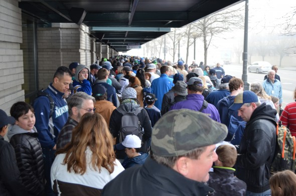 Fans eagerly awaiting entrance into FanFest. Credit: Dan Hughes