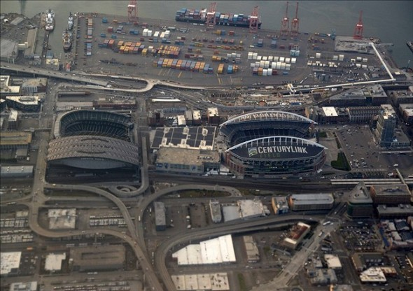 Jan 18, 2014; Seattle, WA, USA; Aerial view of CenturyLink Field (right) and Safeco Field in advance of the 2013 NFC Conference championship game between the San Francisco 49ers and the Seattle Seahawks. Mandatory Credit: Kirby Lee-USA TODAY Sports