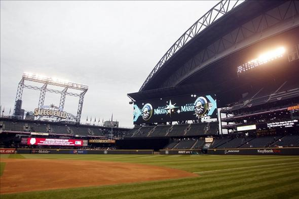Apr 9, 2013; Seattle, WA, USA; General view of Safeco Field outfield stands and new LCD soreboard screen before a game between the Houston Astros and Seattle Mariners. Mandatory Credit: Joe Nicholson-USA TODAY Sports