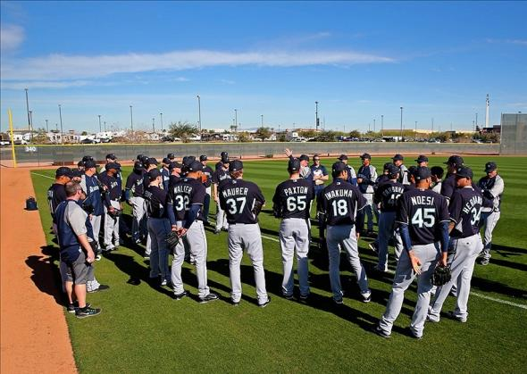 Feb 13, 2014; Peoria, AZ, USA; Seattle Mariners pitchers meet with coaches during team workouts at Peoria Sports Complex. Mandatory Credit: Mark J. Rebilas-USA TODAY Sports